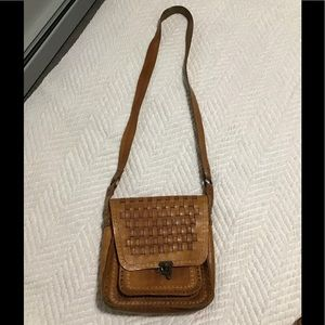 Real leather woven bag